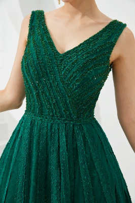 Harriet | Shining Emerald green Sexy V-neck Princess Low back Prom Dress with Pleats_14