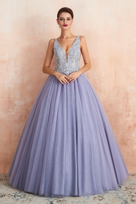 Cerelia | Elegant Princess V-neck Ball gown Lavender Prom Dress with Appliques, Deep V-neck Evening Gowns with Pleats_2