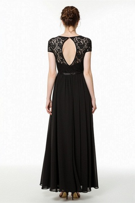Coccecline | Black Lace Cap Sleeves Lace Bridesmaid Dress with Ribbon_3