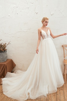 Summer Spaghetti Straps Plunging V-neck Champange Wedding Dress | Sexy Low Back Bridal Gowns Online_24