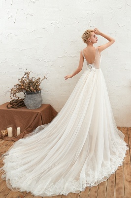 Champange Princess Tulle Wedding Dress with Soft Pleats | Sexy V-neck Low Back Bridal Gowns with Lace Appliques_13