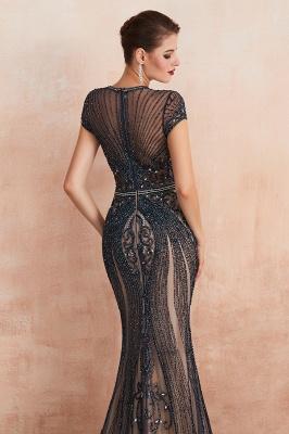 Chloé | Robe de bal en mousseline de soie bleu marine foncé de luxe avec trou clé et manches étincelantes en ligne, belles robes de soirée pour soirée_4