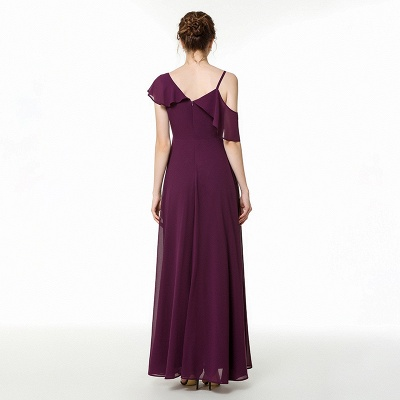 Emmi | Grape Off the shoulder Asymmetric Bridesmaid Dress with Flounce_7