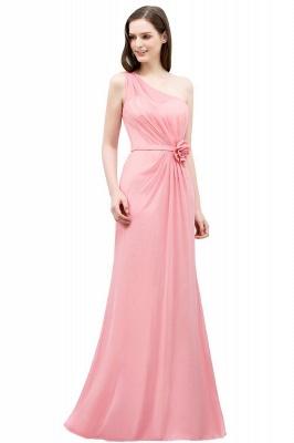 SHERA | Longueur de plancher sirène une épaule à volants en mousseline de demoiselle d'honneur robes avec fleur_1