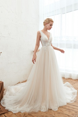 Champange Princess Tulle Wedding Dress with Soft Pleats | Sexy V-neck Low Back Bridal Gowns with Lace Appliques_6
