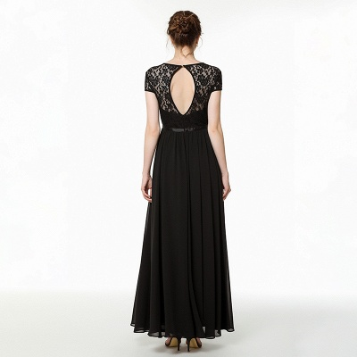 Coccecline | Black Lace Cap Sleeves Lace Bridesmaid Dress with Ribbon_6
