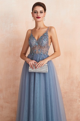 Charlotte | New Arrival Dusty Blue, Pink Spaghetti Strap Prom Dress with Sexy High Split, Cheap Evening Gowns Online_5