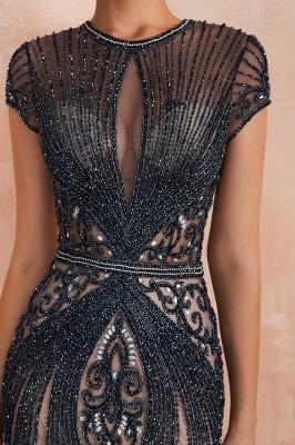 Chloé | Robe de bal en mousseline de soie bleu marine foncé de luxe avec trou clé et manches étincelantes en ligne, belles robes de soirée pour soirée_6