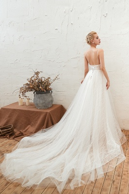 Harlan | Chic Deep V-neck White Tulle Princess Open back Wedding Dress with Court Train_13