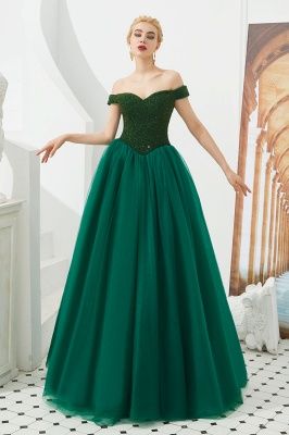 Harry | Elegant Emerald green Off-the-shoulder Ball Gown Dress for Prom/Evening_8