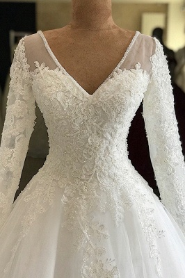 Gorgeous V-neck Long Sleeve Lace Wedding Dress | Babyonlinedress White Princess Bridal Gowns Online_3