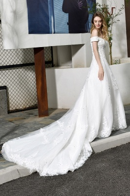 Elegant White Lace Off Shoulder Long Princess Wedding Dress with Beaded Lace Appliques_8