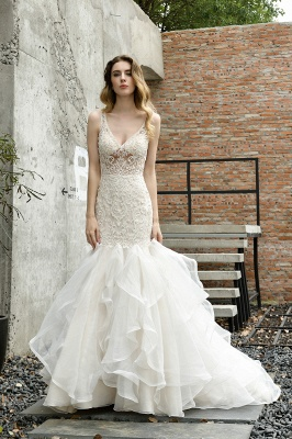 Sexy See-through Lace Mermaid Lace Sleeveless Ivory Wedding Dress with Ruffle Train_7