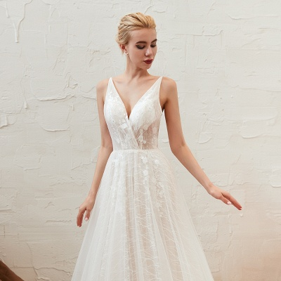 Harlan | Chic Deep V-neck White Tulle Princess Open back Wedding Dress with Court Train_15