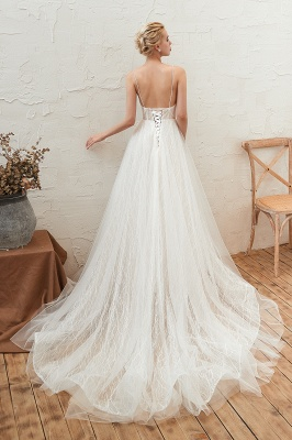 Harlan | Chic Deep V-neck White Tulle Princess Open back Wedding Dress with Court Train_2