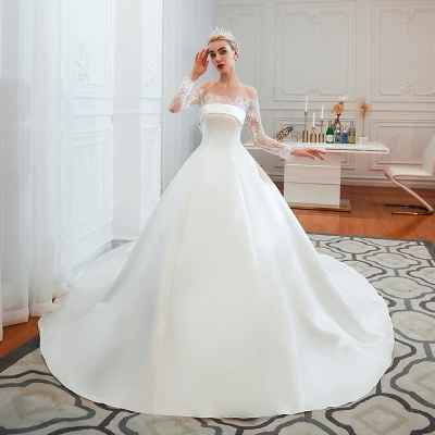 Romántico de encaje de manga larga princesa vestido de novia de satén | Vestidos de novia princesa con tren catedral_12