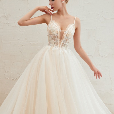 Boho Spaghetti Straps Ivory Ball Gown Wedding Dress | Romantic Bridal Gowns for Sale_5