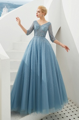 Harold | Discount V-neck Fully beaded 2/3 sleeves A-line Tulle Long Prom Dress_3