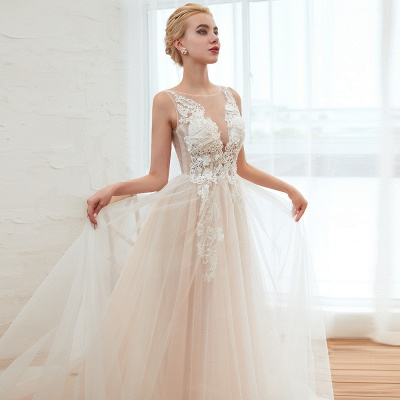 Illsuion neck Champange Wedding Dress with Chapel Train | Sleeveless Summer Bridal Gowns Online_19