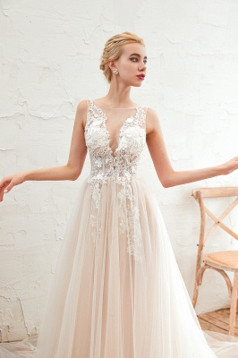 Illsuion neck Champange Wedding Dress with Chapel Train | Sleeveless Summer Bridal Gowns Online_16