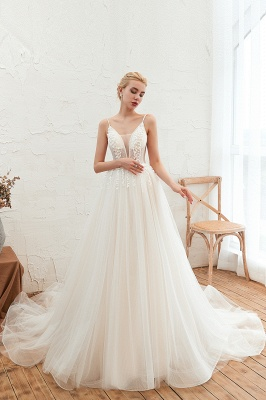 Summer Spaghetti Straps Plunging V-neck Champange Wedding Dress | Sexy Low Back Bridal Gowns Online_7