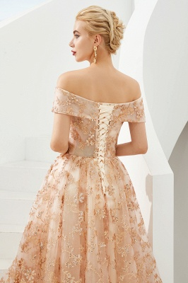 Hale | Romantic Off-the-shoudler Rose Gold Lace-up Tulle Prom Dress with Sparkly Appliques_8
