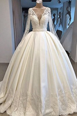 Long Sleeve Plunging V-neck Ball Gown Satin Wedding Dress with Pearl | Luxury Bridal Gowns for Sale