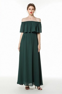 Seline | Emerald Green Flounce Chiffon Summer Bridesmaid Dress
