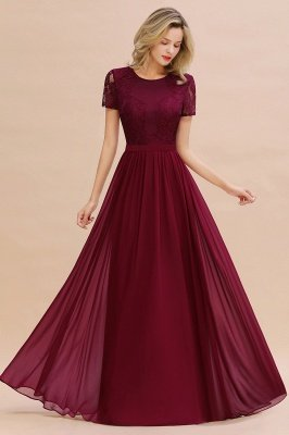 Abraham | Burgundy Short Sleeve Lace Simple Chiffon Formal Dress, Pink, Dark Green_4
