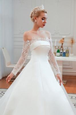 فستان زفاف الأميرة من الساتان بأكمام طويلة من الدانتيل الرومانسي | فساتين زفاف الأميرة مع قطار الكاتدرائية_22