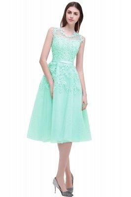 ЭМИРА | A-Line Crew Tea Length Кружева Appliques Короткие платья выпускного вечера_11
