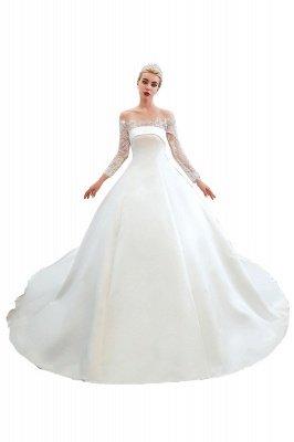 فستان زفاف الأميرة من الساتان بأكمام طويلة من الدانتيل الرومانسي | فساتين زفاف الأميرة مع قطار الكاتدرائية_25