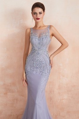 Chipo | Luxury Illusion neck Lavender White Beads Prom Dress Online, Expensive Low back Column Evening Gowns_4