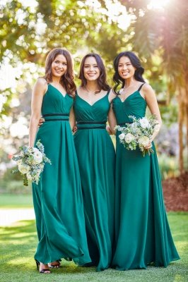 Hamiltion |Dark Green Floor length Summer Bridesmaid Dress with Black spaghetti Strap