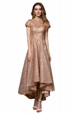 Ardolf | High neck Short Sleeve Champange Sequined High Low Prom Dress_1