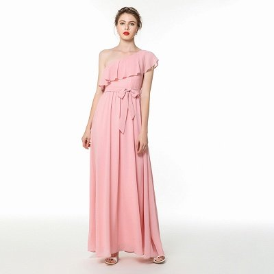 Candy | Pink One-shoulder Flounce Bridesmaid dress with self-tie bow_6