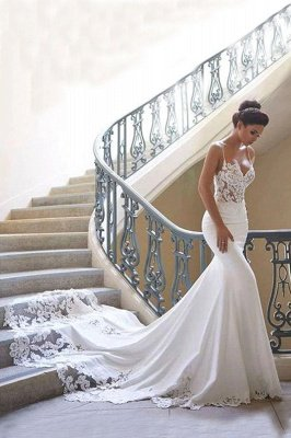 Robe de mariée en dentelle à bretelles spaghetti en ligne avec train chapelle   Robes de mariée blanches à moins de 200 $_1