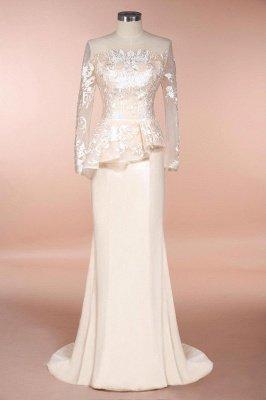 Elegantes mangas largas sirena vestidos de madrina | Vestidos de noche de encaje Champange para eventos especiales_1