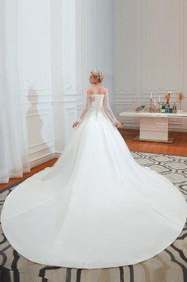 فستان زفاف الأميرة من الساتان بأكمام طويلة من الدانتيل الرومانسي | فساتين زفاف الأميرة مع قطار الكاتدرائية_6