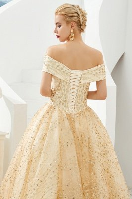 Herman | Luxury Off-the-shoulder Ball Gown for Prom/Evening with Sparkly Floral Appliques_5