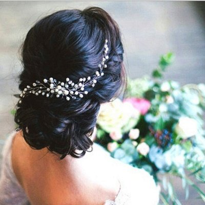 Crystal Hair Piece Wedding Hair Vine Silver Rhinestone Headpiece Bridal Headbands for Women