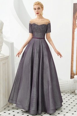 Hayden | Sparkly Regency Round Neck Short sleeves Prom Dress with purple Belt