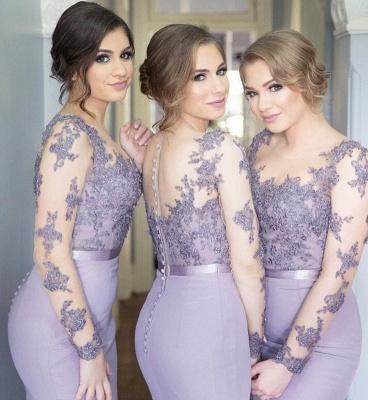 Manches longues dentelle lavande appliques boutons sirène illusion populaire robe de demoiselle d'honneur pas cher_3