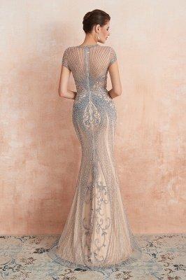 Chloe | Luxury Dark Navy Cap Sleeve Key hole Sparkle Prom Dress Online, Beautiful Champange Dresses for Evening Party_8