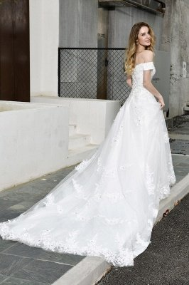 Elegant White Lace Off Shoulder Long Princess Wedding Dress with Beaded Lace Appliques_10
