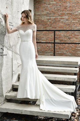 Cheap Floral Beaded Cap Sleeve Mermaid  Lace Ivory Wedding Dress with Cha[el Train