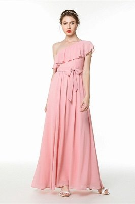Candy | Pink One-shoulder Flounce Bridesmaid dress with self-tie bow