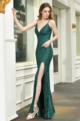 Ardell | Sexy Black Emerald Sequined High Slit Prom Dress Online_6