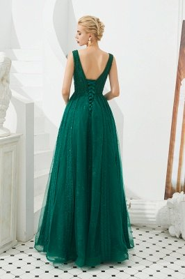 Harriet | Shining Emerald green Sexy V-neck Princess Low back Prom Dress with Pleats_6