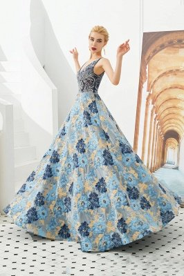 Heather | Luxury Floral Sexy Deep V-neck Princess Prom Dress with Deep V-back_3